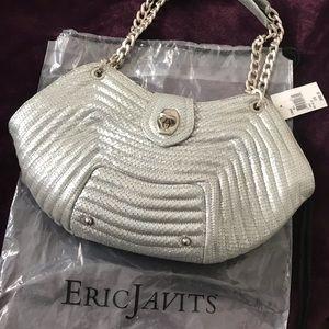 NWT Eric Javits (baby rattler) bag silver